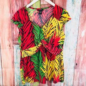 Alfani bright colorful dressy top